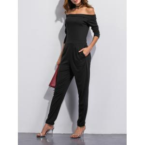 Off The Shoulder Pocket Design Jumpsuit -