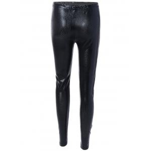 Elastic High Waist PU Leather Leggings - BLACK ONE SIZE