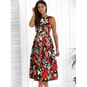 Floral High Waisted Swing Prom Dress -