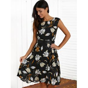 Floral Print Belted Flare Dress -