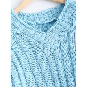 V-Neck Raglan Sleeve Ribbed Sweater -