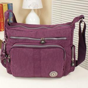 Zipper Metallic Stitching Nylon Crossbody Bag -