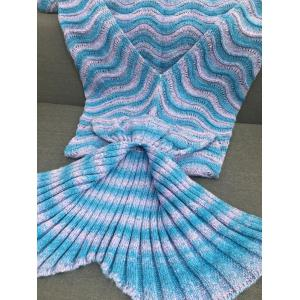 Super Soft Knitting Wave Stripe Sofa Mermaid Tail Blanket -