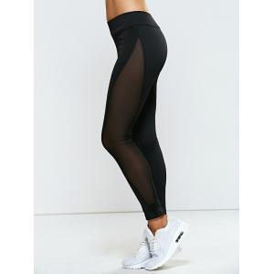 High Rise Mesh Panel Yoga Leggings - BLACK XL