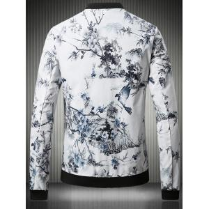 Stand Collar Plus Size 3D Flower Chinese Painting Print Jacket -