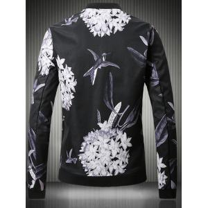 Stand Collar Plus Size 3D Flower and Bird Print Jacket -