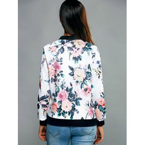 Zippered Floral Print Splicing Jacket -
