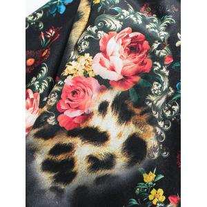 Stand Collar Plus Size 3D Flower and Leopard Print Jacket -
