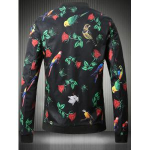 Stand Collar Plus Size 3D Rose and Bird Print Jacket -