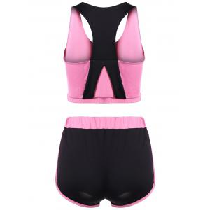 Racerback U Neck Sporty Bra and Shorts Twinset - PINK XL