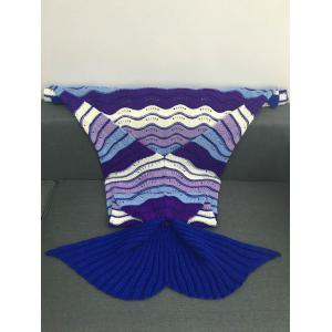 Multi-Colored Stripe Pattern Acrylic Knitted Mermaid Tail Design Blanket -