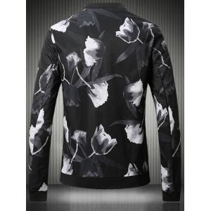 Stand Collar Plus Size 3D Rose Print Bomber Jacket - BLACK 5XL