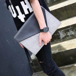 Colour Block Covered Closure PU Leather Clutch Bag -