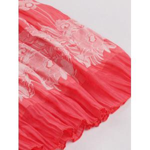 Stretchy Flower Print Skirt - WATERMELON RED ONE SIZE