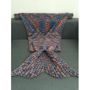 Knitted Scrawl Multicolor Style Mermaid Blanket - COLORMIX