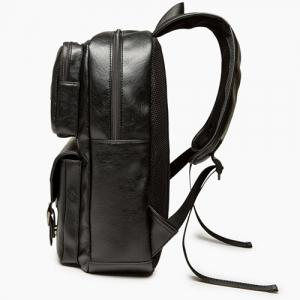 Zip Stitching Buckle Strap Backpack - BLACK