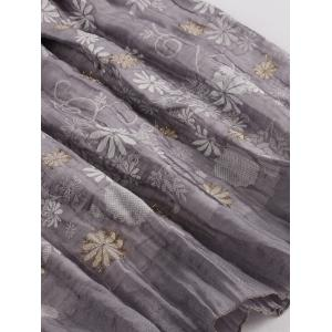 Elastic Wasit Print Skirt - GRAY ONE SIZE