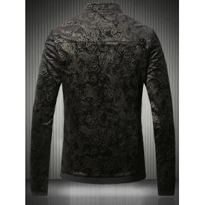 Stand Collar Plus Size Gloden Floral Jacquard Velvet Zip-Up Jacket -
