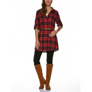 Long Sleeve Plaid Tunic Flannel Shirt Dress -