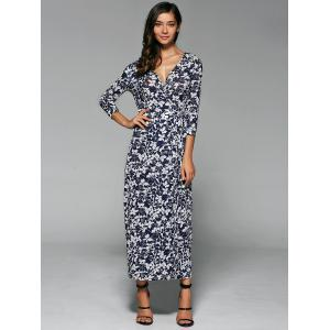 Floral Wrap Slit Maxi Summer Dress - PURPLISH BLUE XL