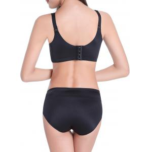 Seamless Embroidered Wire Free Bra Set - BLACK 85C