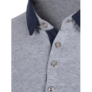 Color Block Splicing Rudder Embroidery Long Sleeve Polo T-Shirt -