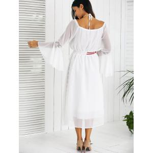 Drawstring Bell Sleeves Lace Spliced Chiffon Dress - WHITE M