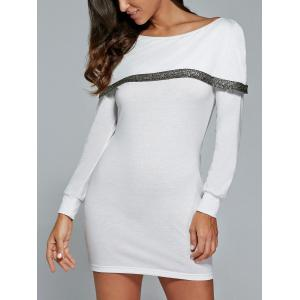 Long Sleeve Mini Tunic Fitted Dress - WHITE XL