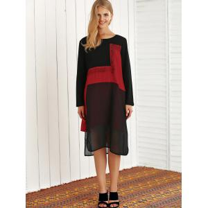 Long Sleeve Color Block High Low Dress -