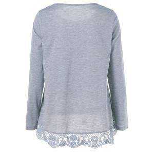 Lace Patchwork T-Shirt - GRAY L