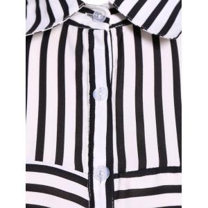 Plus Size Striped Shirt - WHITE 5XL