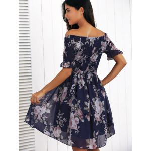 Off The Shoulder Ruffled Flowers Print Chiffon Dress -