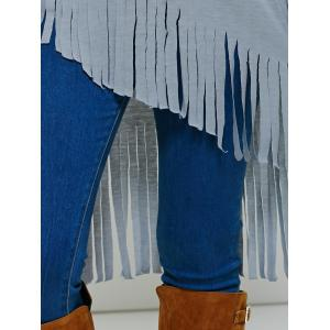 Fringed High Low T-Shirt -