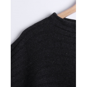 Cape Style Side Slit Loose-Fitting Sweater -