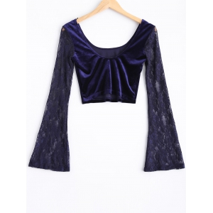 Lace Bell Sleeve Velvet Crop Top -