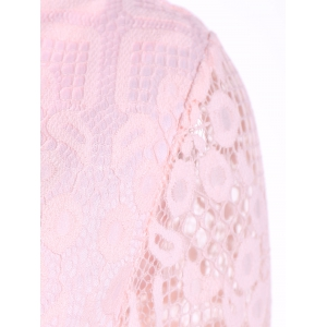 Lace Mini Skater Short Dress with Sleeves - PINK 3XL