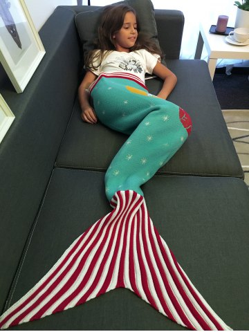 Store Moon and Santa Claus Pattern Knitting Mermaid Tail Blanket AZURE M