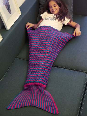 Trendy Stripe Pattern Fish Tail Design Knitted Blankets and Throws For Kid PURPLE