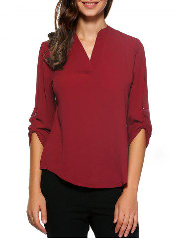 Cheap D-Ring Roll Sleeve High Low Blouse