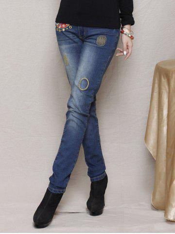 Cheap Slimming Embroidered Bleach Wash Jeans