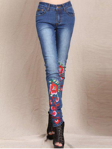 Fashion Slimming Flower Embroidered Bleach Wash Jeans