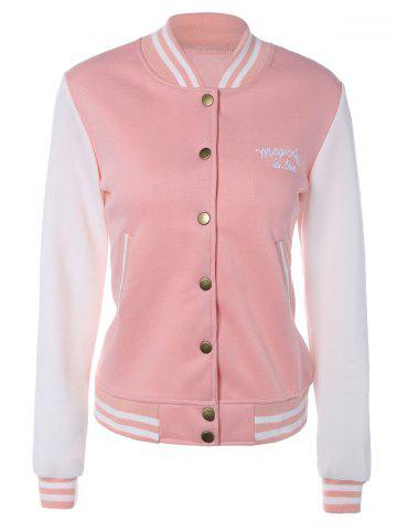 Discount Varsity Stripe Letter Embroidered Jacket