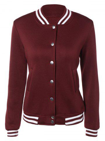 Online Snap Button Up Varsity Stripe Jacket