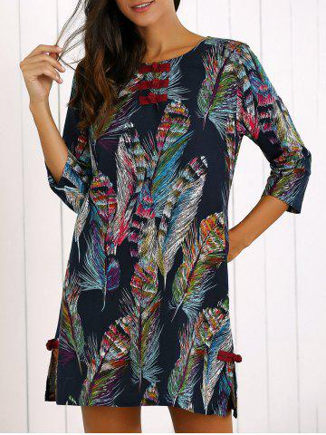 Buy Feather Print Frog Button Shift Dress