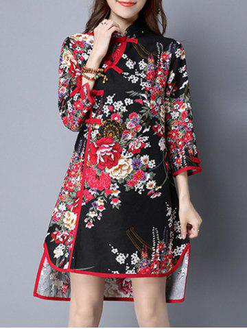 New Asymmetric Blossom Print Cheongsam Dress