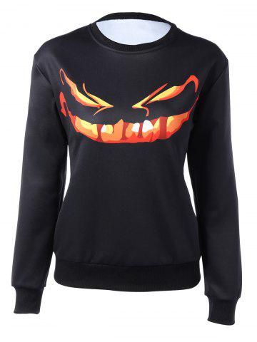 Outfit Long Sleeve Cartoon Print Sweatshirt BLACK XL