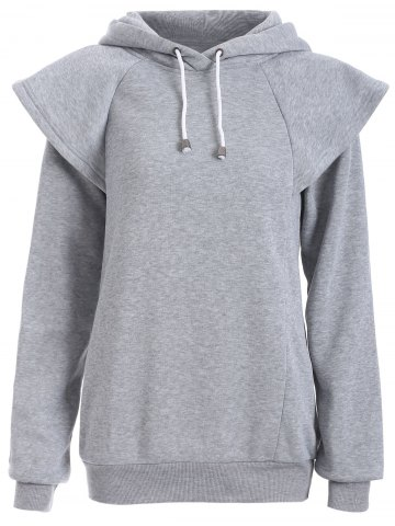 Unique Drawstring Cape Sleeves Pullover Hoodie GRAY 2XL
