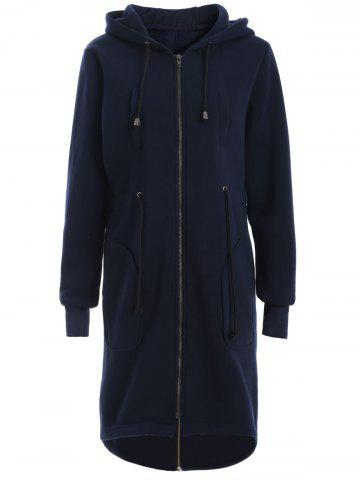 Hooded Zip Up Drawstring Coat - Purplish Blue - M