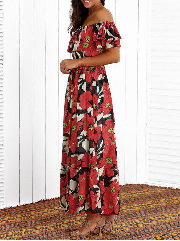 Latest Flounced Floral Print Maxi Dress