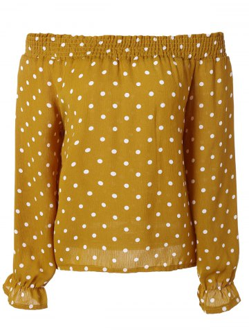 Trendy Off-The-Shoulder Polka Dot Trumpet Sleeves Blouse